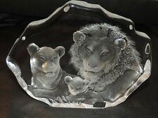MATS JONASSON signed Crystal Lion family Glass ETCHED SCULPTURE signed