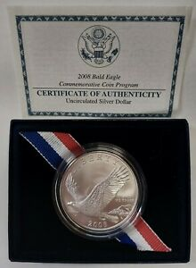 2008-P Bald Eagle Commemorative Uncirculated Silver Dollar Original Box w/COA