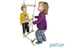 KIDS WOODEN ROPE LADDER 5 RUNGS SIMPLE FOR CLIMBING FRAME PLAYGROUNDS
