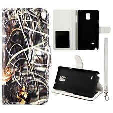 For Samsung Galaxy Note 4  N9100 Wallet Leather Camo Sawgrass in Blk Case Cover