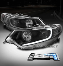 FOR 09-14 ACURA TSX [HID MODEL] LED BLACK PROJECTOR HEADLIGHTS LAMPS W/BLUE DRL