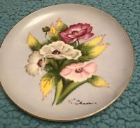 Vintage Ucagco China Japan Signed Hand Painted Roses Plate 7""