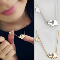 Fashion Women Elephant Family Stroll Crystal Chain Necklace Pendant Jewelry Gift