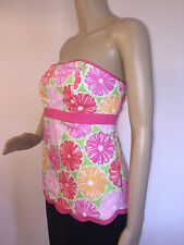 Mint! Lilly Pulitzer SZ 6 Strapless Top 100% Cotton Floral with Scalloped Hem