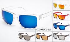 Keyhole Transparent Sunglasses Clear See Through Frame Flash Mirror Lens UV 100%