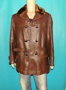 canadienne vintage complète année 1940 cuir marron doublure et col taille XL