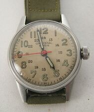 1940's WWII Universal Geneve Steel Men's Military Watch 12-24 Hour Dial Ca 267