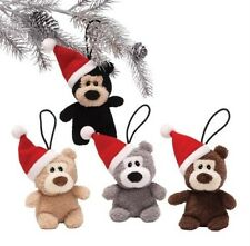 GUND Christmas Set of 4 Santa  Teddy Bears Hanging Tree Ornaments