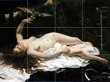Art Nude Woman with Parrot Ceramic Mural Backsplash Bath Tile #2134