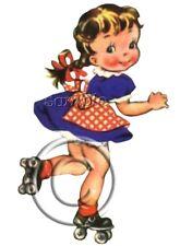 IRON ON TRANSFER CUTE VINTAGE #7 GIRL skating blue dress apron red 10x16cm