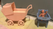 RENWAL VINTAGE DOLLHOUSE BABY & CARRIAGE Stroller Plus High Chair Potty Plastic