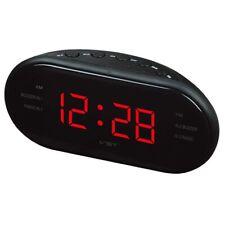 LED Display Snooze Alarm Clock AM/FM Radio Buzzer Main AC Power Battery Time UK