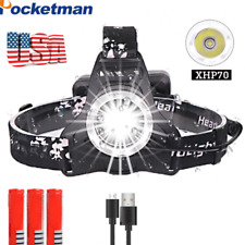 300000LM XHP70 Led Headlamp Rechargeable Headlight Zoom Torch light use 18650