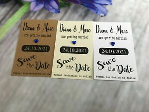 Personalised Wedding Save The Date Evening Cards Magnet Envelopes Diamante FBC6a
