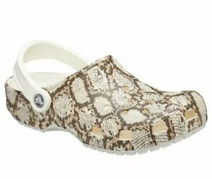 New Crocs Classic Snake Print Clog Oyster/Mushroom Men's 4 Women's 6