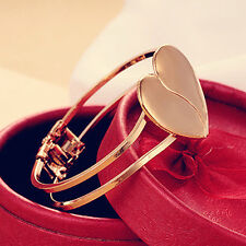 Love Heart Bracelet Gift Multi Layer Gold Plated Chain Cuff Bangle Women Girl UK