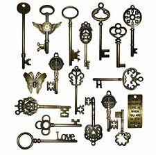 Vintage Skeleton Keys Charm Set in Antique Bronze Pack of 18 Different Style