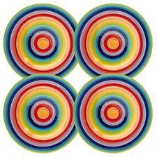 WINDHORSE Set of 4 Rainbow Striped Ceramic Dinner Plates (Large - 26cm) - NEW