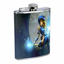 Sorceress Blue Witch Em1 Flask 8oz Stainless Steel Hip Drinking Whiskey