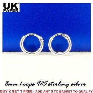 Solid 925 Sterling Silver 8mm Small Tiny Hinged Hoop Sleeper Earrings Rings Pair