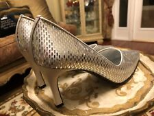 NEW RARE ST. JOHN ITALY WEDDING HEELS PUMPS SILVER SATIN GLASS MOSAICS 9 B MEDIU