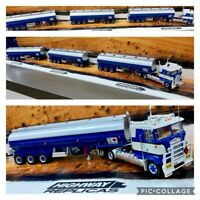 37806 HIGHWAY REPLICAS TANKER BLUE SILVER ROAD TRAIN 1:64 TRAILER & DOLLY TRUCK