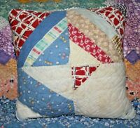 Throw Pillow Made From 1930's Depression Era Farmhouse Feedsack Patchwork Quilt