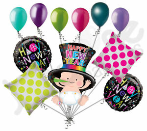 11 pc Colorful Baby Happy New Years Balloon Bouquet Party Decoration 2019