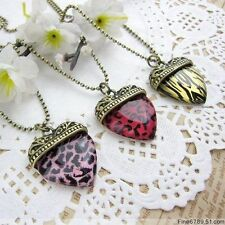 Classic Vintage Style Animal Print Heart Necklace 3 types UK Seller