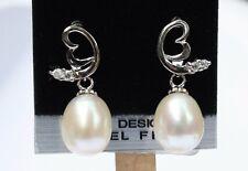 YR020 Süßwasser Perlen Schmuck Ohrringe Ohrstecker 925 Silber Zirkonia Ohrhänger