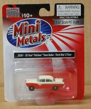 MiniMetals 30381 HO 1955 Ford Fairlane Town Sedan, Torch Red, 2 tone