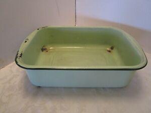 """Vintage Enamelware Washbasin Tub Mint & dark Green edge Baby Bath Farm 18 ½"""" W"""