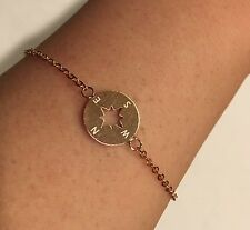 Rose Gold or Silver Plated Stainless Steel Compass Design Pendant Bracelet