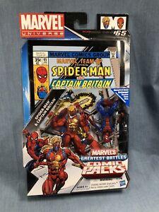 "2010 Hasbro Marvel Universe 3.75"" 2 Figure Comic pack Spider-man Captain Britain"