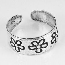Plain Solid .925 Sterling Silver Flower Adjustable Toe Ring (str27)