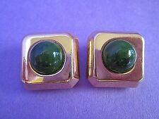 Lanvin Paris Gold Tone Clip Earrings Signed Vintage Jade Green Faux Stone RARE