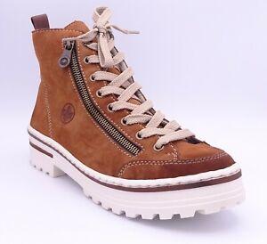 Rieker Z8103-25 Women's Brown Fleece Lined Flat Ankle Boots Size UK 7.5 EUR 41