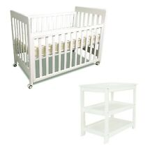 Pioneer cot & change table crib baby bed  with mattress & Pad white