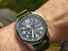 Seiko Solar V158-0AD0 100m Green NATO Strap Great Condition