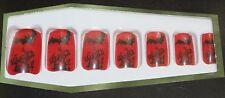 Black Bat on Red FAKE NAILS - Pack of 14 ~ finger fingernail