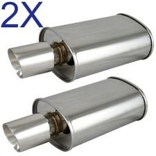 2X Polished Spun-locked Exhaust Oval Muffler Double Wall Slant Tip for Honda