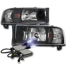 1994-2001 DODGE RAM 1500 2500 3500 BLACK SET CRYSTAL HEADLIGHTS LAMP+10K HID KIT