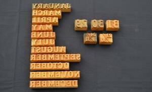 Letterpress Wood Print Printing Block Type Set 16pcs