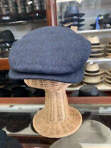 Wigens Sintas Men's Navy Wool Ivy Cap W/ Earflaps Size 7 5/8