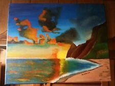 Original- One of a Kind- Oil on Canvas-Sunset Beach- Signed-COA-Listed Artist*