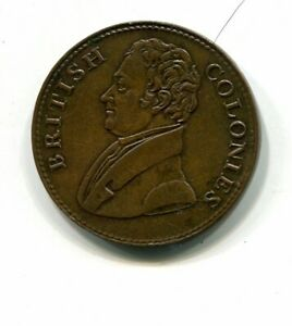 jamaica/canada rare 1825 halfpenny token,british colonies.facilitate trade  rare