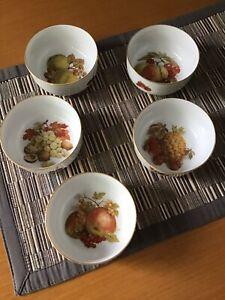 Set of 5 Vintage Furstenberg Bowl with Gold Trim & Fruit Design excellent condit