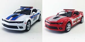 2 PC SET: Kinsmart 2014 Chevrolet Camaro Police/Fire Diecast Model 1:38 Chevy
