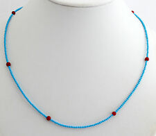 Treated turquoise,Coral Necklace Precious Stone Red Ball 45cm 925-Silver Pretty