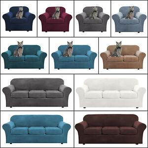 1/2/3 Seater Stretch Velvet Plush Sofa Cover Slipcover +Separate Cushion Cover